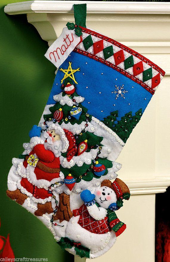 Bucilla Pick A Tree 16 Felt Christmas Stocking Kit 86440 Frosty