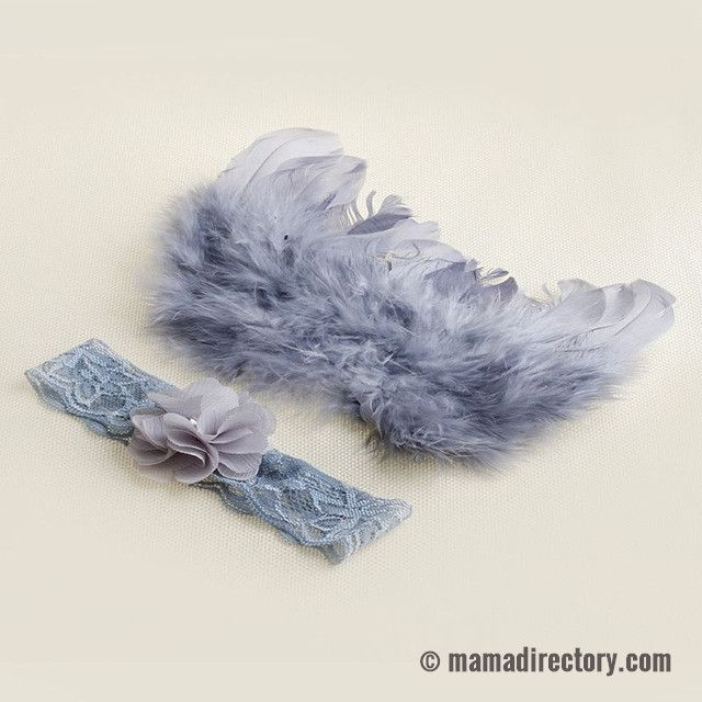 Baby Angel wings and headband set for newborn photography