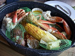 Joe's Crab Shack Steampot - This recipe combines sweet snow crab, smoked sausage, Dungeness crab, boiled shrimp, seasonings, corn and potatoes in a flavor-filled steam broth. See recipe here:  http://www.copycatrecipeguide.com/How_to_Make_Joe's_Crab_Shack_Steampot