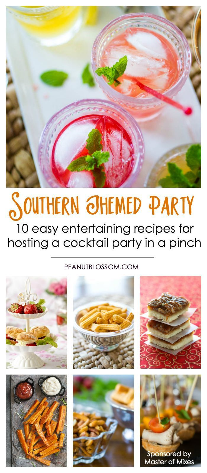 10 easy party recipes for hosting a Southern themed party with your friends. Perfect for the Kentucky Derby or a lovely southern cocktail party. Love the 4 mint julep variations and easy appetizer ideas.