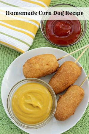 Homemade Corn Dogs recipe—kid friendly, freezer friendly, and they make a great appetizer.