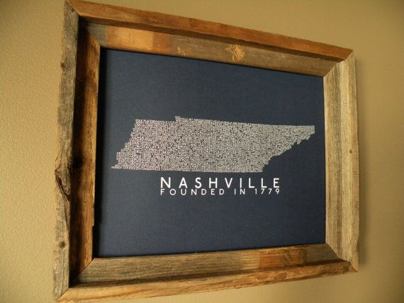 History of Nashville Word Map by fortheloveofmaps on Etsy, $22.00