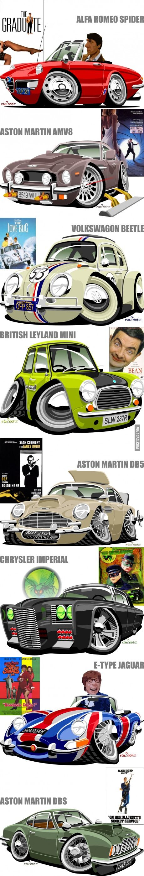 Caricatures of cars from TV and movies
