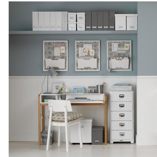 Duck- egg walls have been teamed with white wooden flooring and patterned fabrics featuring blue hues for a calm Scandinavian-inspired scheme.    Paint  The Little Greene Paint Company  Flooring  Quick-Step  Desk  John Lewis