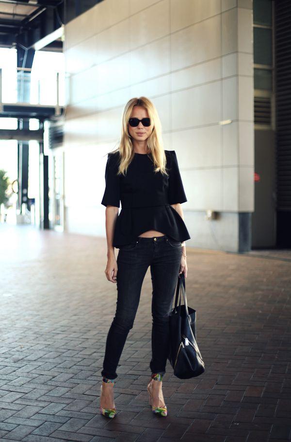 wethepeoplestyle.com: Fashion, Inspiration, Street Style, Outfit, Elinkling, Street Styles, Peplum Top, Black, Elin Kling