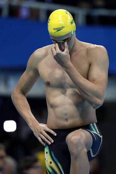 #RIO2016 Cameron McAvoy of Australia prepares in the Men's 100m Freestyle Final on Day 5 of the Rio 2016 Olympic Games at the Olympic Aquatics Stadium on...