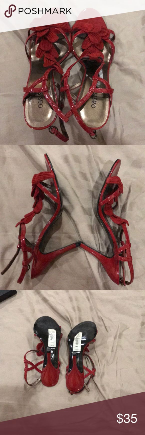 Red heeled sandals Like new, UK size 40, heel height is 3.5 inches Oasis Shoes Sandals