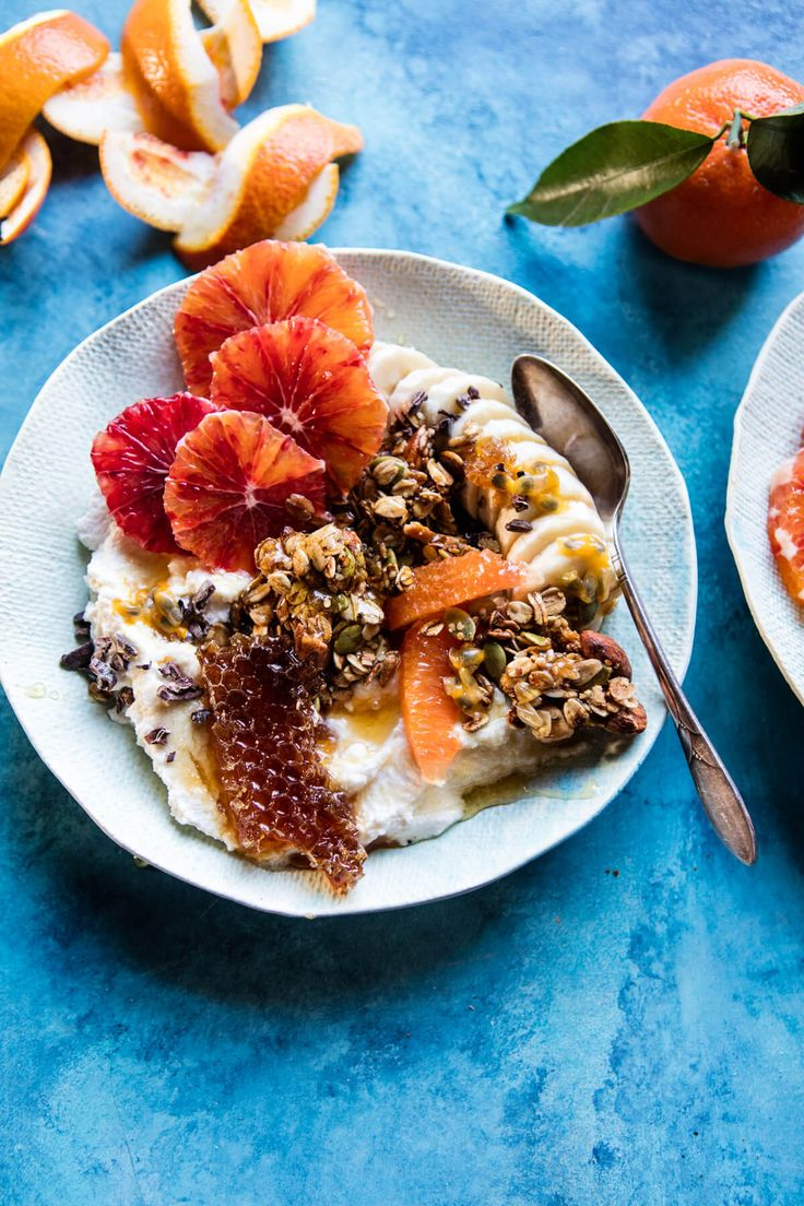Winter Citrus Ricotta Breakfast Bowl with Honeycomb - a colorful, healthy, super simple, incredibly delicious breakfast bowl. From halfbakedharvest.com
