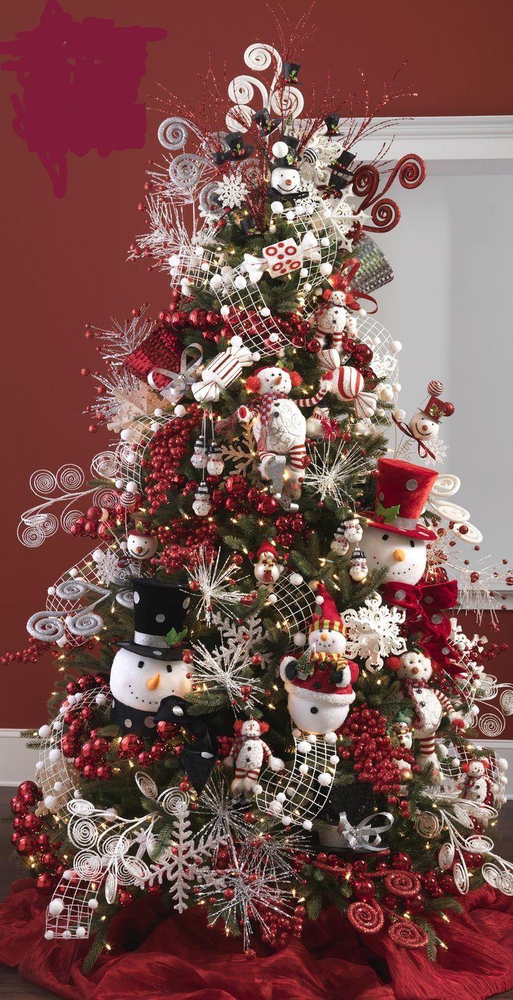 Árbol de navidad con temática del muñeco de nieve. #DecoracionNavidad