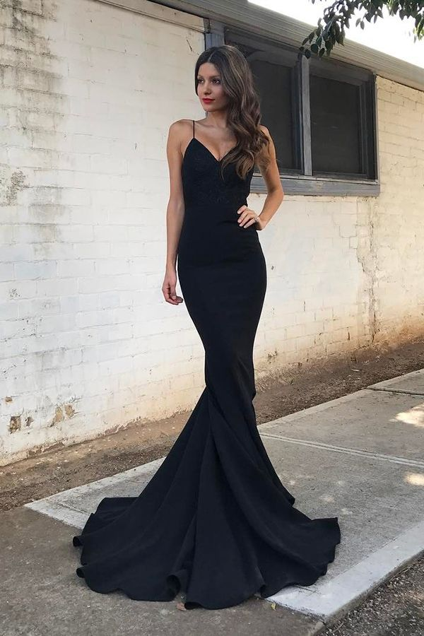 Mermaid Spaghetti Straps Sweep Train Black Stretch Satin Prom dress, mermaid evening gowns, cheap prom dresses