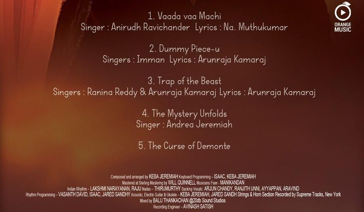 Demonte Colony track-list is here