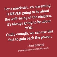 In Part I of this series about co-parenting with a narcissist, I discussed the facts of sharing children with someone who has a narcissistic personality.