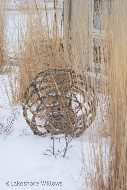 "I put this willow garden globe under ""Garden Crafts"" because I didn't want to start another board called ""Garden Art""!  I don't know if I could craft one of these myself, but maybe someone else could. I love it. (Basketry - lakeshore willows Ornamental willow garden globe)"