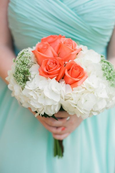 Bridesmaid bouquets of peach roses, ivory hydrangeas and Queen Anne's lace {Alyona Photography}