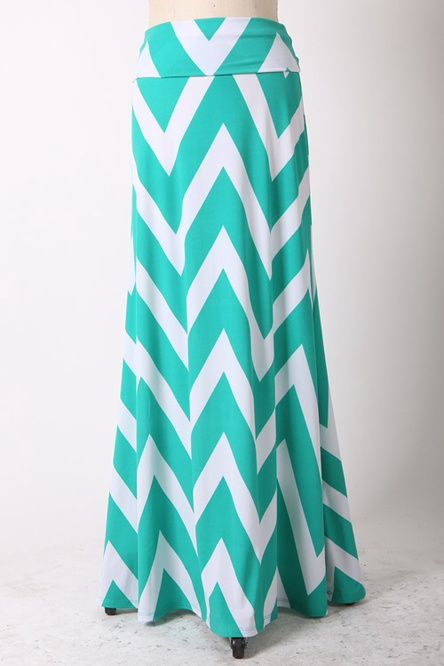 Plus Size Chevron Maxi Skirt Mint