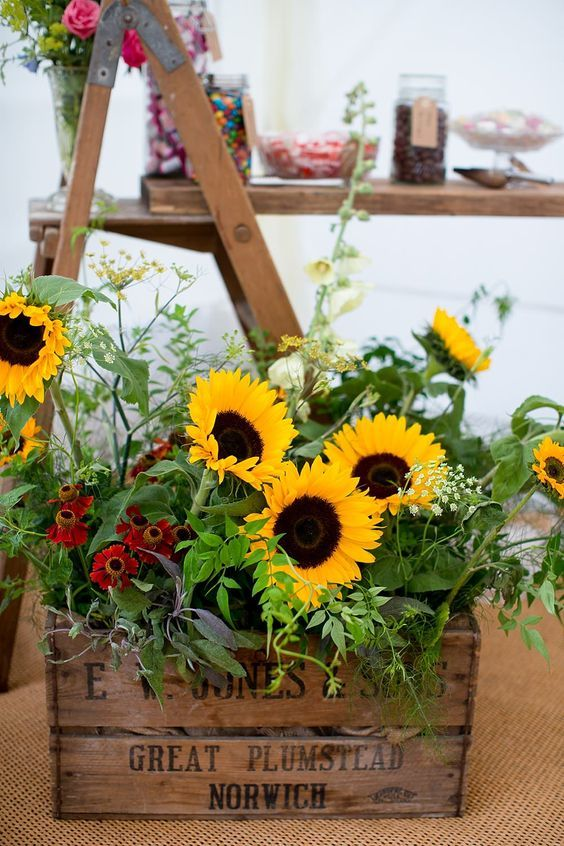 Wooden Crate of Yellow Sunflowers Rustic Wedding Ideas / http://www.deerpearlflowers.com/country-wooden-crates-wedding-ideas/