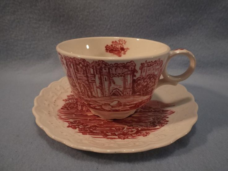 """Taylor Smith and Taylor """"Pink Castle"""" Red and White Transferware Cup & Saucer"""