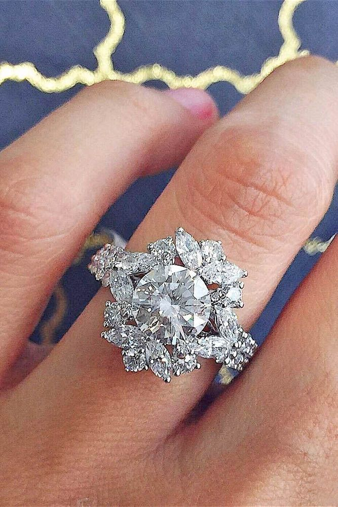 24 Outstanding Floral Engagement Rings ❤️ See more: http://www.weddingforward.com/floral-engagement-rings/ #weddingring