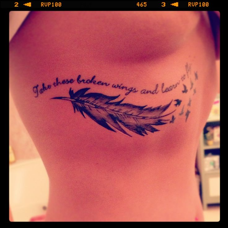 """Take these broken wings and learn to fly..."" Beatles lyrics. Tattoo. I really like this but I don't want it under my boob lol"