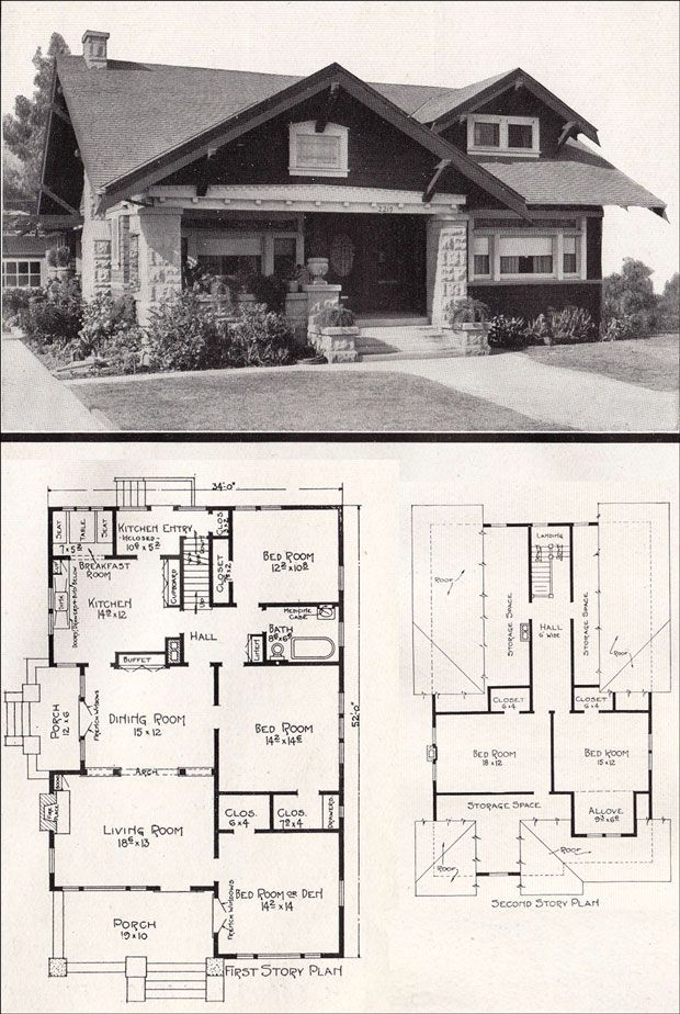 Vintage bungalow ca 1918 bungalows exteriors and floor House plans ca