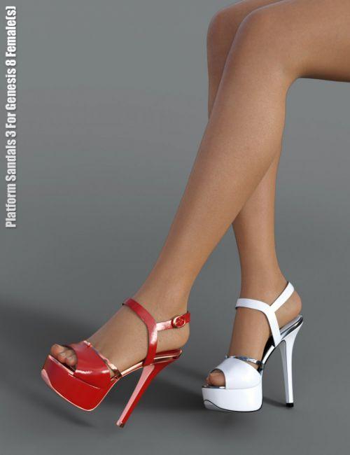 Platform Sandals 3 for Genesis 8 Female(s) | 3D Footwear for Daz