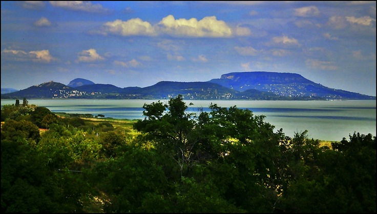 The north shore, seen across Lake Balaton from the south shore. Lake Balaton, Hungary