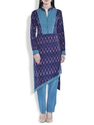 Buy Rever Design Studio blue ikat cotton asymmetric kurta Online, , LimeRoad