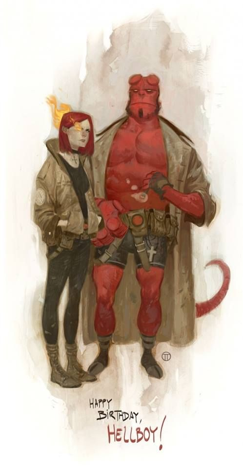 Hellboy and Liz Sherman by Julian Totino Tedesco *