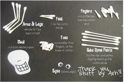 Q-tip Skeleton. Fun craft for kids to do.