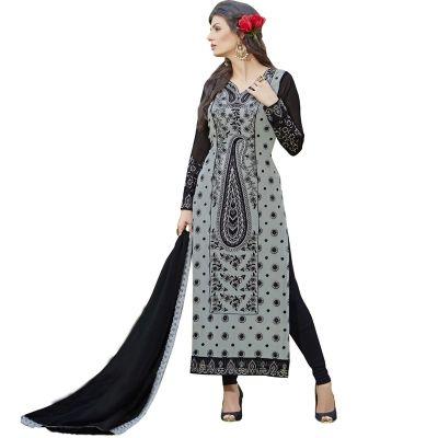 Buy New Georgette Straight Cut Salwar Suit In Grey
