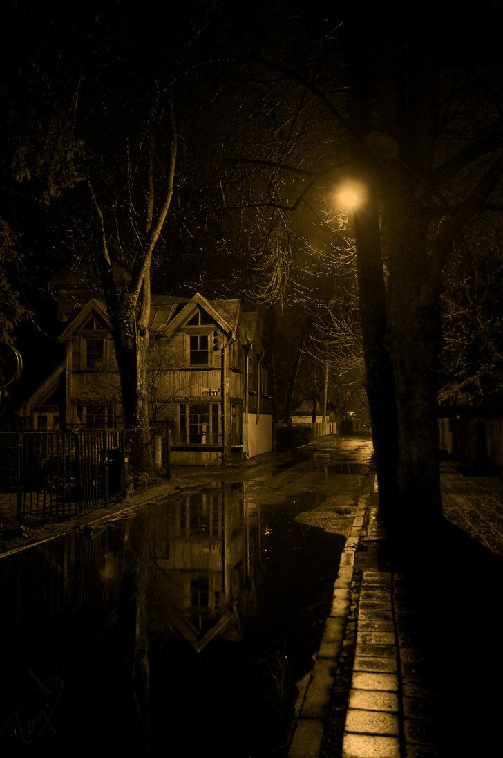 Old wooden house  on the dark street  at rainy night  in weak light  of street lamp.