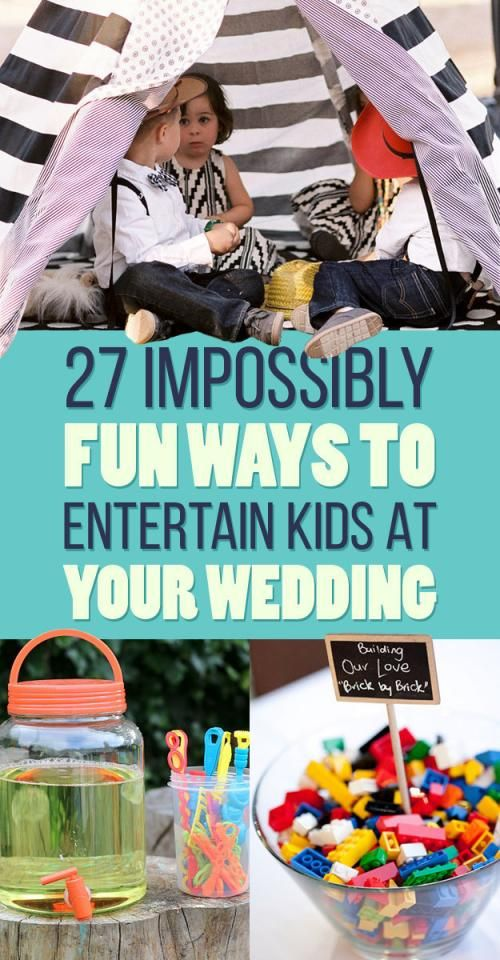 """27 Impossibly Fun Ways To Entertain Kids At Your Wedding1. Have a """"kids' table"""" and stock it with crayons… lots of crayons.2. Speaking of the kids' table, forgo the fancy tablecloth and put down butcher paper instead.3. Kid-friendly, wedding-themed placemats work well too.4. Put a centerpiece on the kids' table that can be played with later.5. Not doing a kids' table? You can still keep your little guests busy with an activity briefcase.6. Give kids this wedding-themed activity booklet.7…"""