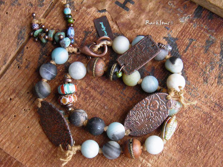 Bracelet bohème double rangs bleu et cuivré,bracelet hippie,style asian-vintage,turquoise,bleu,naturel,style rustique,inspiration nomade asiatique : Bracelet par rare-et-sens
