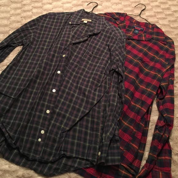 Two Oversized  Plaid Shirts Look so good with leggings and boots! Listing is for both! Green one is a large, and red is a medium, but very similar fit! Tops Button Down Shirts