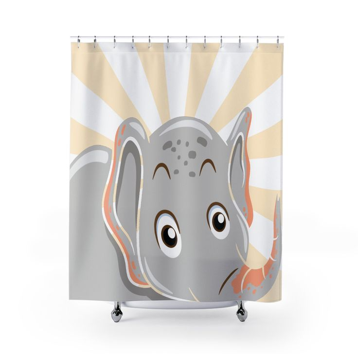 Elephant Designed Shower Curtain