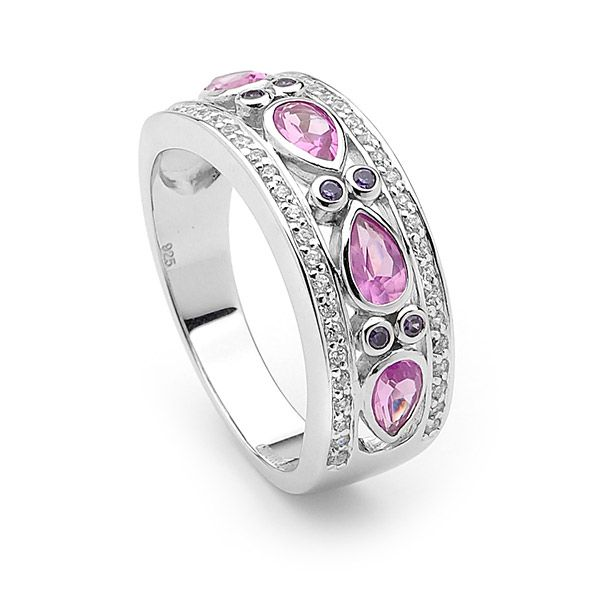 """Georgini sterling silver rhodium plated """"Celestial"""" ring set with high quality Pink and amethyst cubic zirconias, affordable and stylish."""