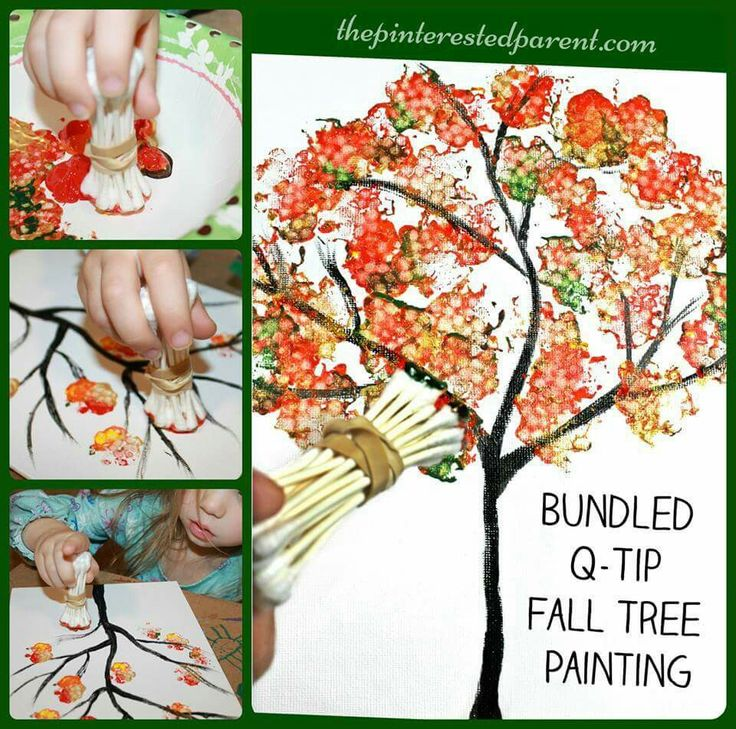 Love how these trees turned out!   http://thepinterestedparent.com/2016/09/bundled-q-tip-autumn-tree/