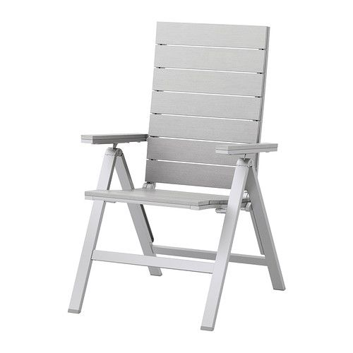 IKEA - FALSTER, Reclining chair, outdoor, folding gray,  , , Easy to fold up and put away.Polystyrene slats are weather-resistant and easy to care for.The furniture is both sturdy and lightweight as the frame is made of rustproof aluminum.You can easily sand down light scratches on the slates with fine sandpaper.