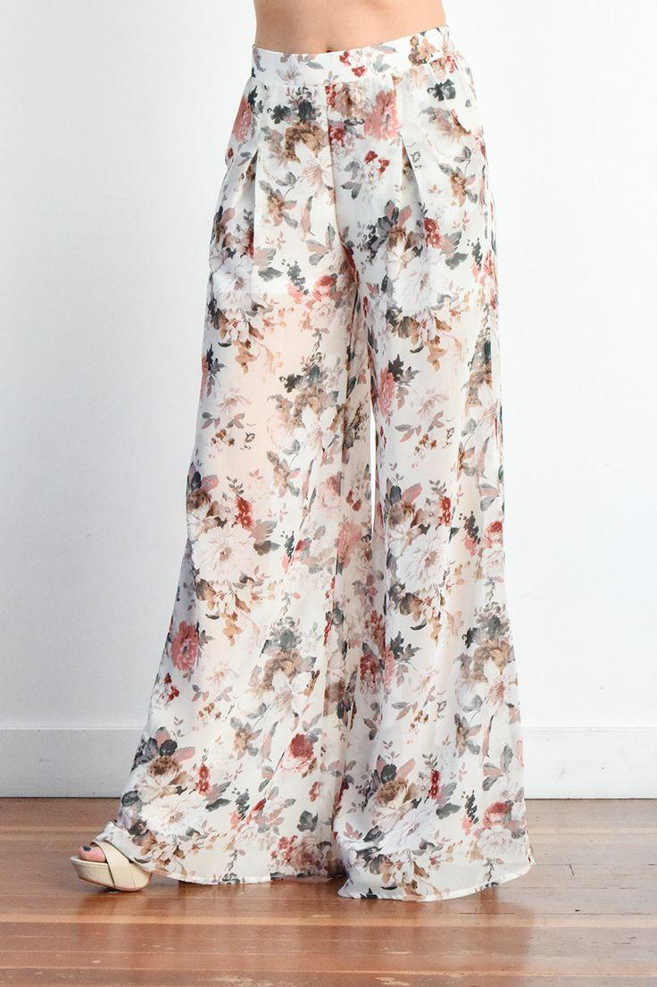 Abigail Floral Chiffon Palazzo Pants