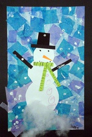 beautiful! snowman with tissue paper background to go with a writing prompt