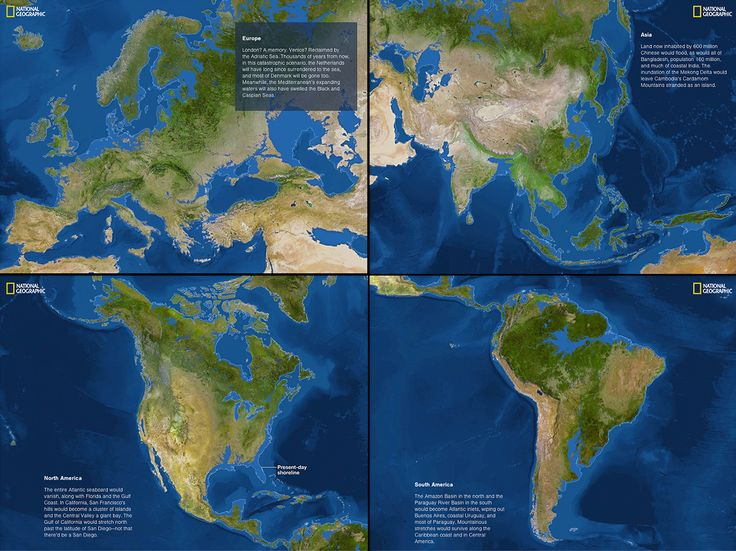 If the polar ice caps completely melted: It's not clear precisely when the polar ice caps will melt completely. But if and when they do, sea levels will rise by 216 feet. This map shows what the world would look like then. Given how many people live near coastlines today, that's not good. You can see National Geographic's wonderful, full interactive here.