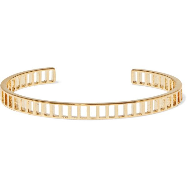 Arme De L'Amour Gold-plated cuff (365 BRL) ❤ liked on Polyvore featuring jewelry, bracelets, gold plated jewelry, polish jewelry, gold plated bangles, geometric jewelry and cuff bangle