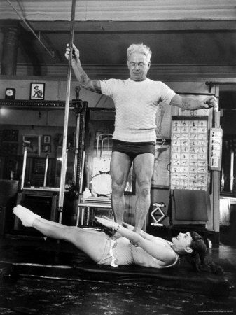 Opera Singer Roberta Peters Balancing Her Trainer, Joseph Pilates, on Her Operatic Breadbasket #pilates