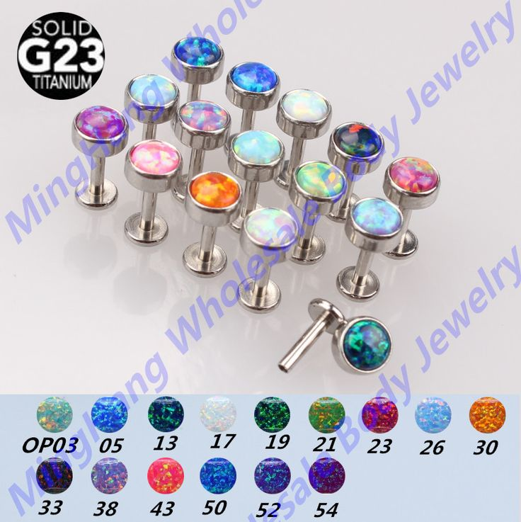 1pcs/lot High polished G23 Titanium Body piercing Jewelry Opal Internally Threaded Labret Lip Ear Cartilage Helix Tragus Stud