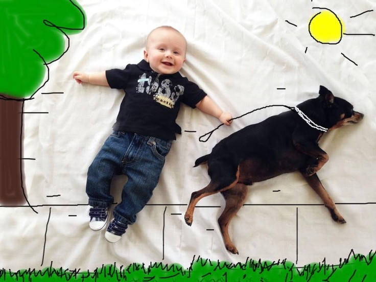 My son and my dog! Both excellent posers. ;) How to make cool baby pictures - DIY awesome baby photo - just lay your baby on a sheet and paint on the photo in any paint program on your computer. Unique Baby photos. Baby walking dog. Baby picture with dog. Funny baby photos. 3 month old baby photo ideas. 6 month old baby photo ideas.