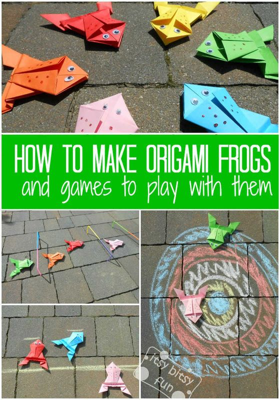 How to Make an Origami Frog that Jumps + game ideas to play with them!