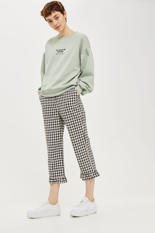 Re-invent your loungewear with this blouson style sweatshirt in mint featuring a motif 'You Make Me Wonder' motif to the front.