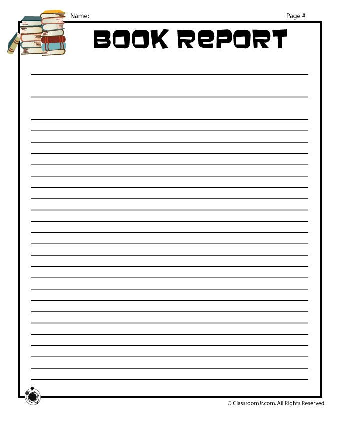 Plain Printable Book Report Forms Blank Book Report Writing Page – Classroom Jr.