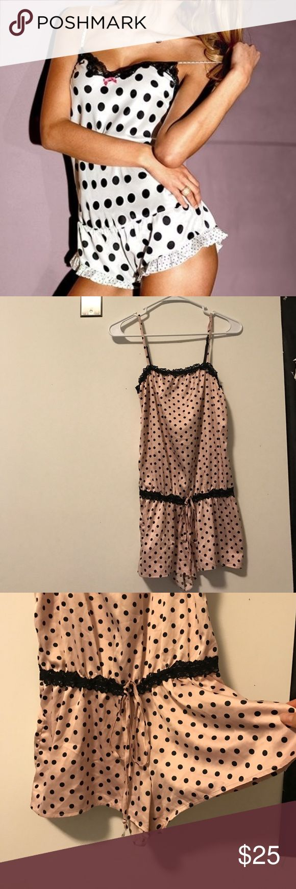 LIKE NEW ADORABLE SILK POLKA DOT LACE SLEEP ROMPER LIKE NEW ADORABLE SILK POLKA DOT LACE SLEEP ROMPER PLAYSUIT WORN 1x FLAWLESS CONDITION SIZE S/XS. STRAPS ADJUST SUPER COMFY. NO BRAND I CUT IT OUT BECAUSE IT WAS ITCHY. •••PRICED TO SELL SAME DAY, OFFERS WELCOME THROUGH THE OFFER OPTION, NO TRADES OR HOLDS••• no brand Dresses Mini