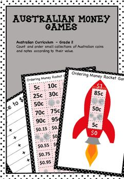 Australian Money Games Higher Order Thinking - This pack contains the resources needed to play games where students add money to reach certain totals and games where students order money amounts. Players have to be strategic in order to win!Great for maths centres, maths rotations, partner work and as extension activities.This resource contains the following games:Race to $1.Race to $2.Race to $5.Race to $10.*Ordering Money to $1 Rocket Game.*Ordering Money to $2 Rocket Game.*Ordering Money…